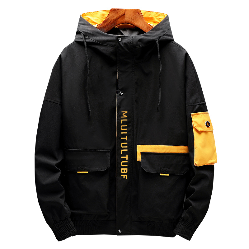 New Custom Logo Zip Up Design Colorblock Fashion Streetwear <strong>Mens</strong> <strong>Winter</strong> Hooded Windbreaker Bomber <strong>Jacket</strong>