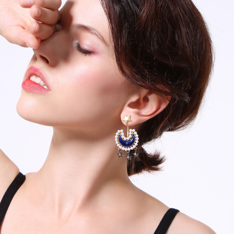 Factory wholesale Christmas Earrings  Christmas star pearl charms earrings for women girls
