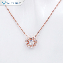 Tianyu Gems 0.5ct H & A Cut Moissanite Diamond Rose Gold Hangers Bedels Ketting Voor Dames