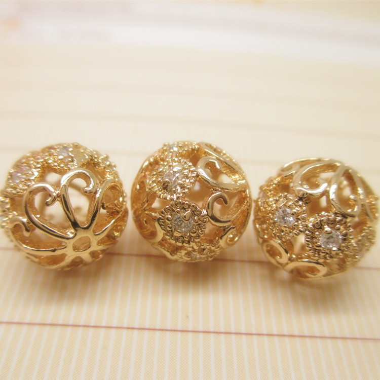 Wholesale cheap 24k gold vacuum plating beads with rhinestone engraved for handmaking bracelet