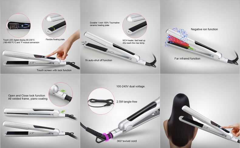 Dual Voltage flat iron dodo L-S180 Digital Flat Iron Plated Touch screen flat iron