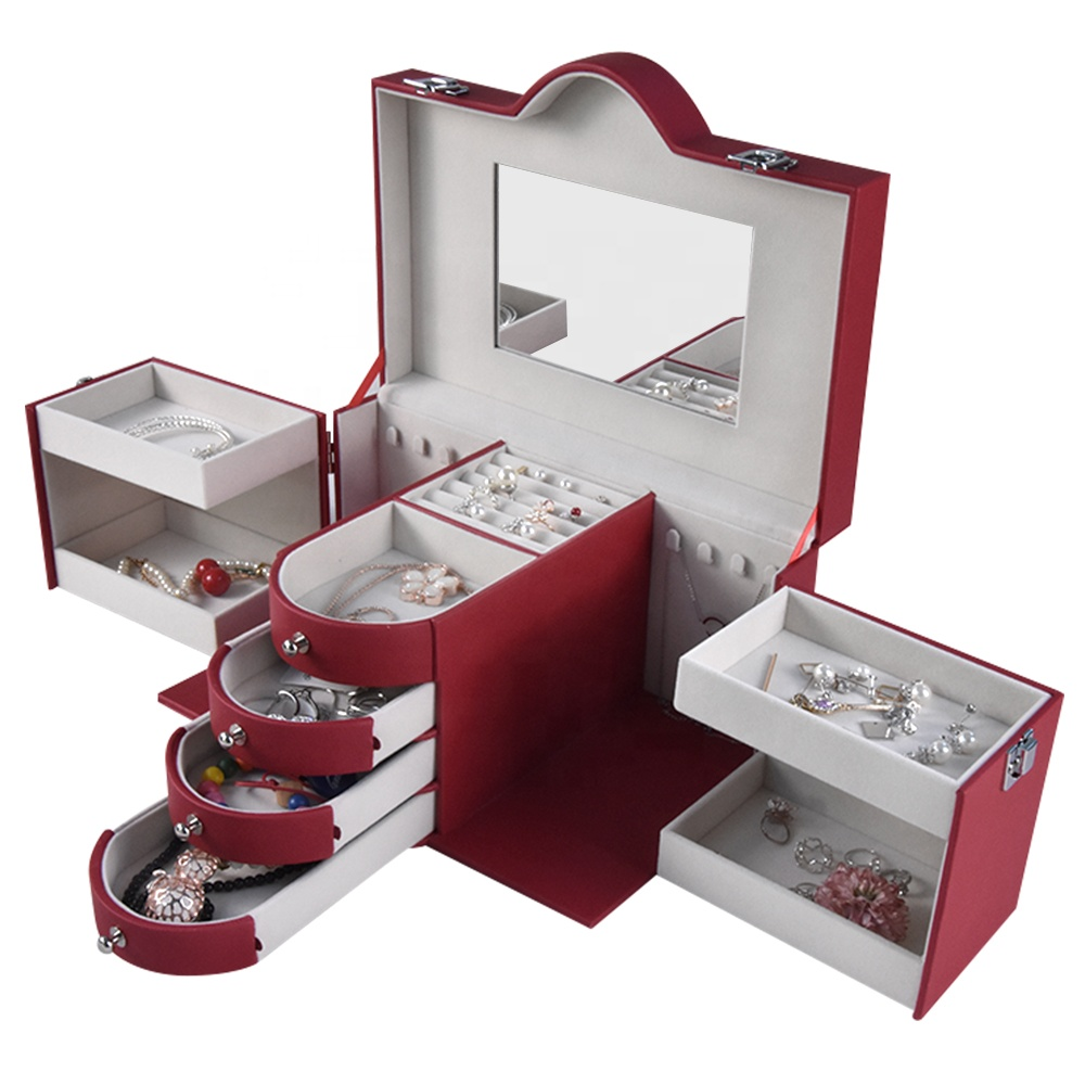 عالية الجودة صندوق مجوهرات القرط قلادة سوار السفر صندوق من الورق المقوى للمجوهرات