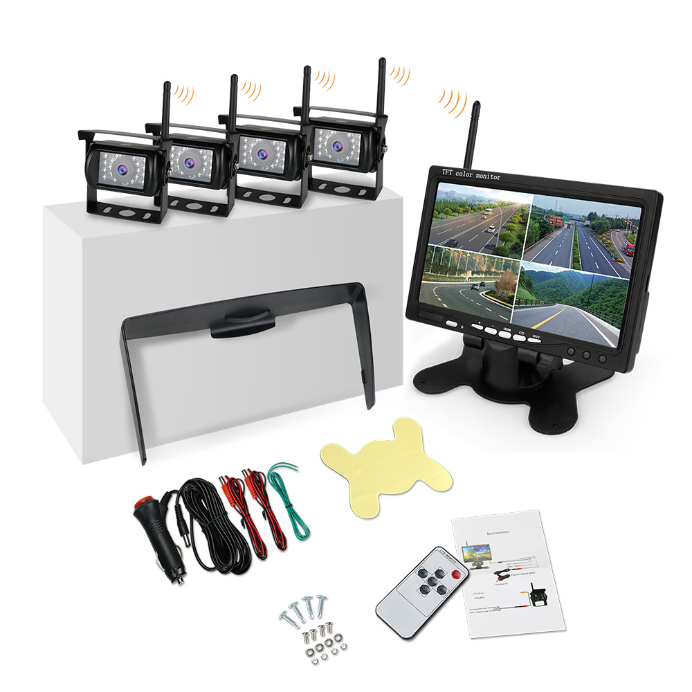 Universal Digital 2.4G HD Wireless Vehicle Monitoring System with 4 Channels 720P Camera & 7 inch HD Monitor 1/3 CMOS Bus Truck