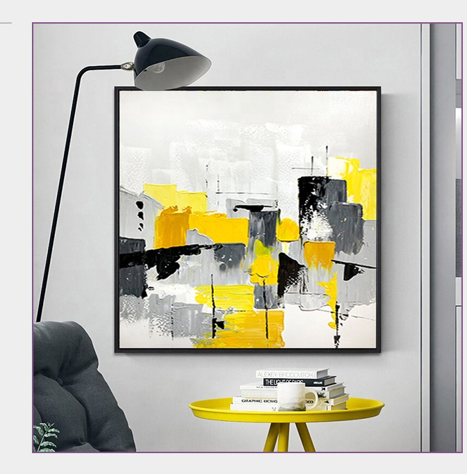 wood wall art abstract <strong>picture</strong> yellow and black color Oil Painting