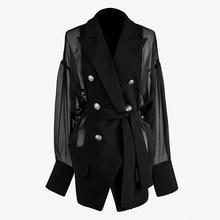 Женский двубортный Блейзер [EAM], черный свободный пиджак с отложным воротником и длинным рукавом, весна-лето 2020, WM25001(Китай)