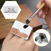 MP04 Salon Manicure Finger Ring Color Stainless Steel Palette Make up Cream Foundation Mixing Palette Cosmetic Make up Tool