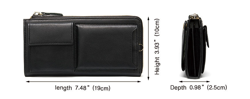Long Genuine Leather Men Wallets with zipper coin purse large capacity
