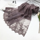 Hot sale luxury solid color scarf lace edges pearls shawls plain scarves fashion embroidery muslim hijab