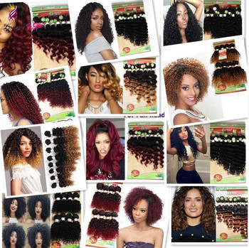 8-14inch 8pcs/pack Natural Black Deep Wave Synthetic Hair Weave short jerry curly Sew in hair Extensions for black women