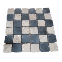SLWT-703-001 DIY Chess Design Black Limestone and Cream Travertine Meshed Paving Stone for Pavement