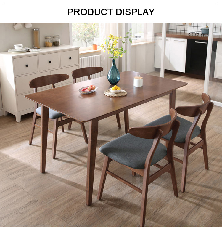 Modern Style Wooden Painted Walnut Large Top Dining Table With Chairs 6 Seater