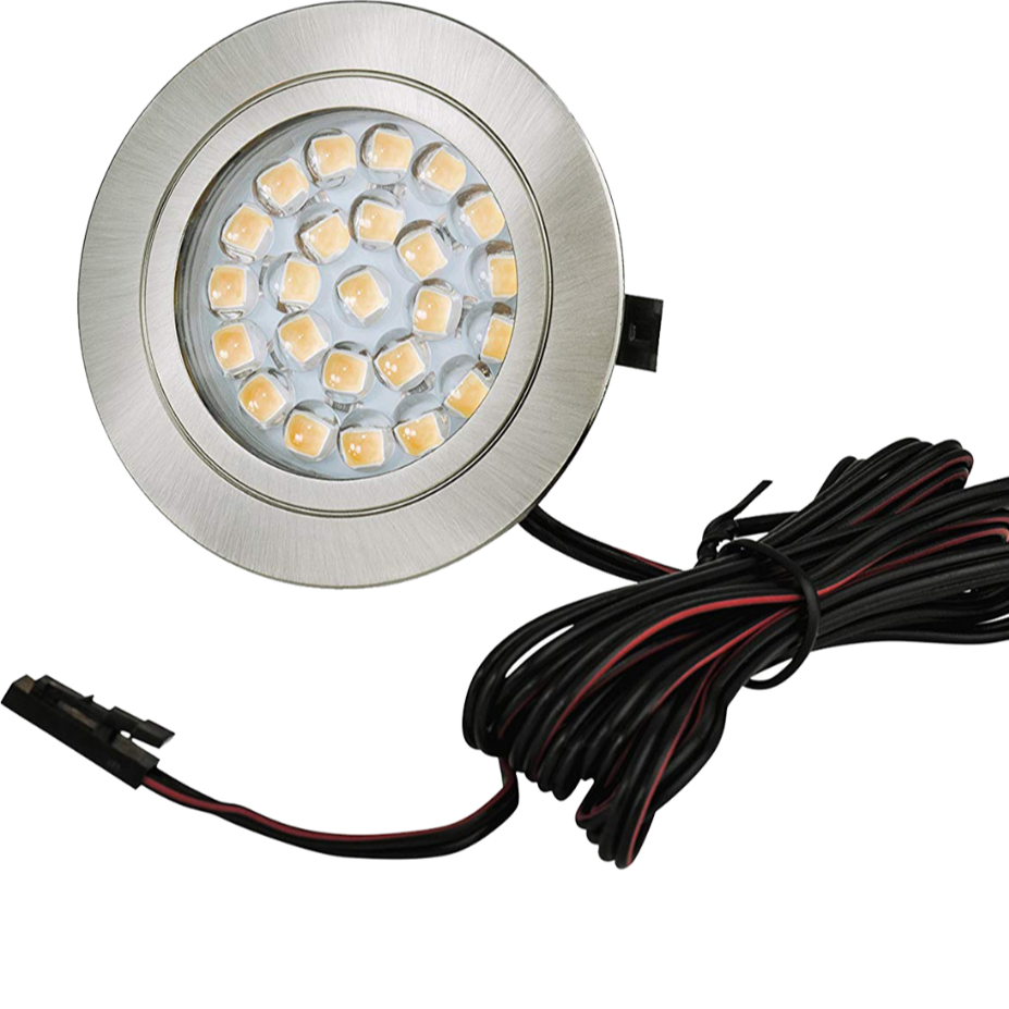 12V Under Cabinet LED lamp  Kit 3 Packs Slim Aluminum Puck Lamps with 3-way Switching All Accessories Included for Counter Clos