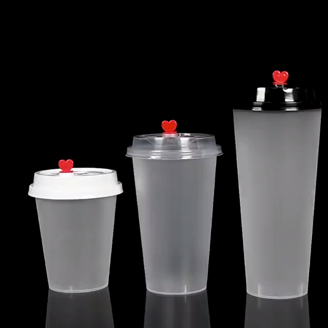 Food grade Custom Printed 360ML 500ML 600ML 700ML Clear Disposable Plastic Bubble Tea PP Injection Cup With Lid