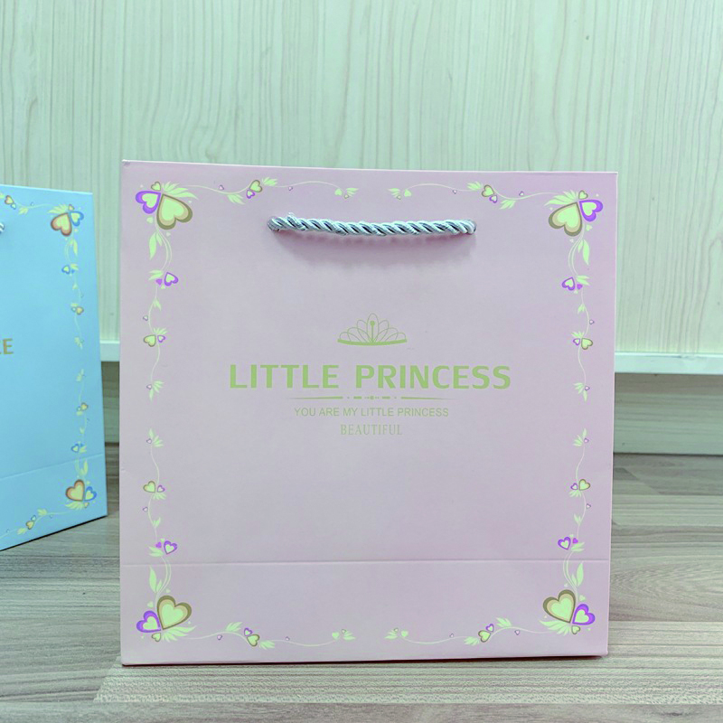 product-Dezheng-Blue and Pink Gift Paper Bags Small Size Custom Logo Paper Bag with Handle for Baby -1