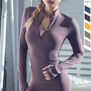 Gym fitness clothing women tight long sleeves women tops sport wear yoga top with zipper