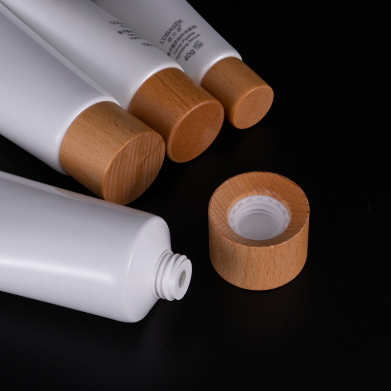 40g-150g high quality cosmetic packaging tube hand cream skin care facial cleanser with wooden screw cap soft tube squeeze tube