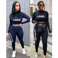 Free Shipping Wholesale Ladies Gym Sports Wear Girls Athletic Workout Suit Crop Tops With Leggings Women Fitness Yoga Set