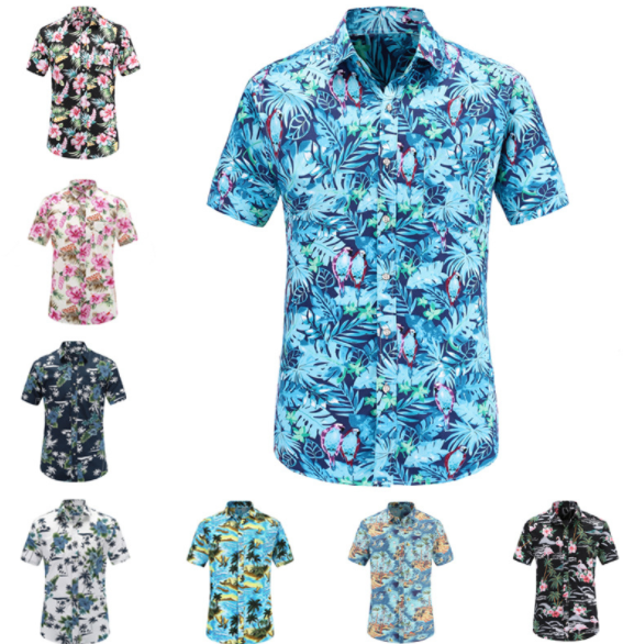 custom wholesale cotton Digital printing men's hawaiian <strong>shirts</strong>