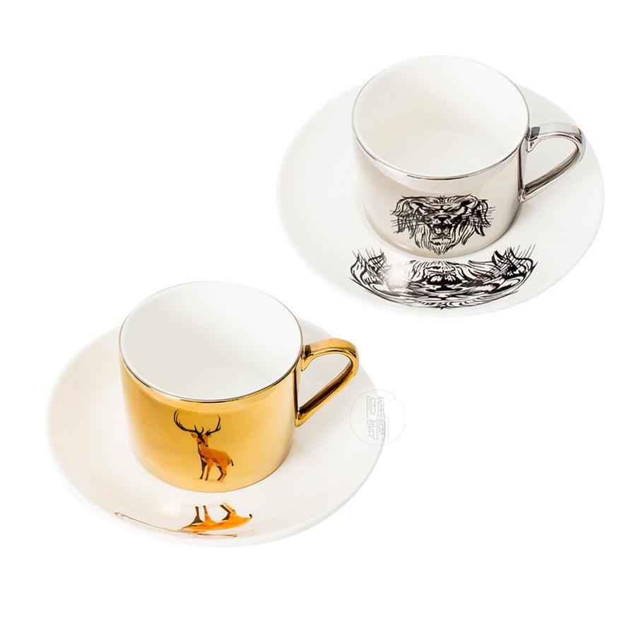 도매 크리 에이 티브 반사 도금 mirrorceramic 커피 컵