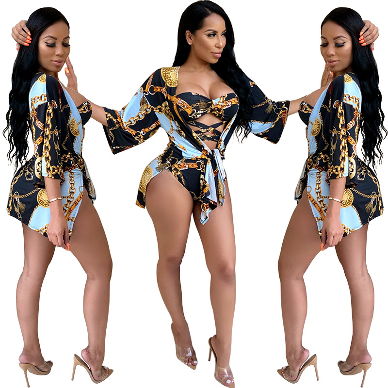 sexy women high waisted thong bodysuit bikini swimsuits with long sleeve cover