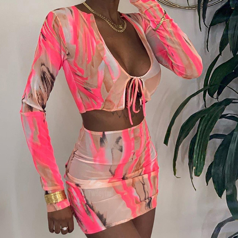 MXN 2020 New arrivals sexy bodycon tie dye long sleeve mesh crop top two piece outfits bandage skirt set