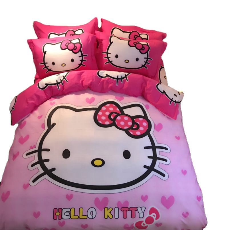 hot sale cute hello kitty print kids children 100% cotton bedding <strong>sets</strong> <strong>bed</strong> sheet cover pillowcase for girls