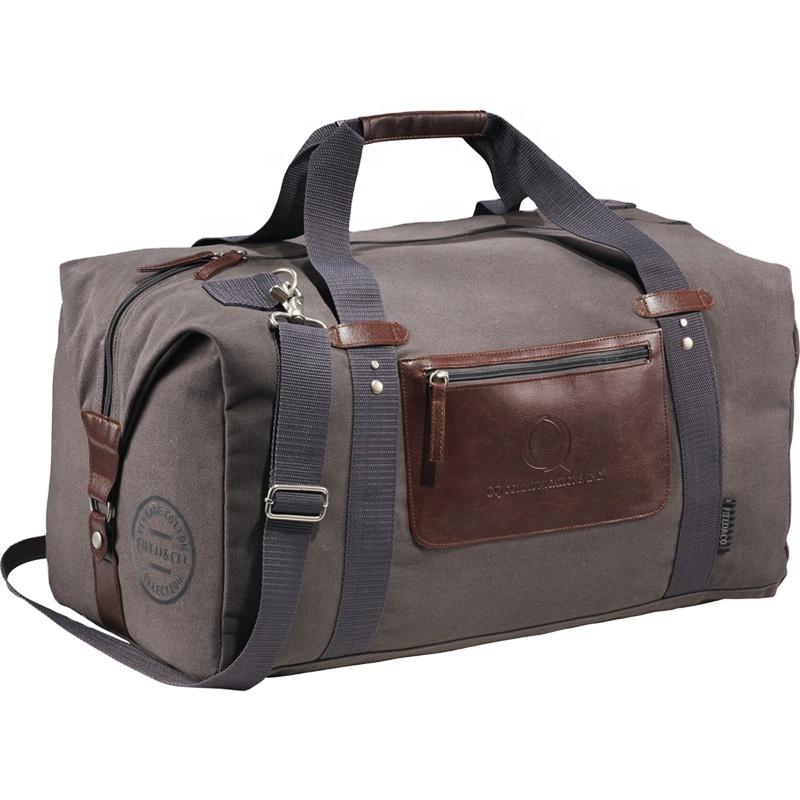 Heopono Branded OEM Custom Adults Men Women Large Reusable GYM Bag Durable Vintage Heavy Duty Canvas Cotton Travel Duffel Bag