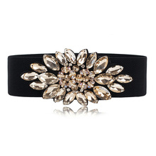 Strass <span class=keywords><strong>Large</strong></span> Élastique En Toile <span class=keywords><strong>Femmes</strong></span> Ceinture Cinch Stretch Ceinture Strass Ceinture Ceinture Élastique Ceinture de Bling