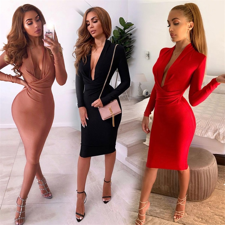 Winter V Neck Bodycon Long Sleeve Knee Length <strong>Sexy</strong> Women Ladies Casual Party Female Plain Pencil Tight <strong>Dresses</strong> Online <strong>Shopping</strong>