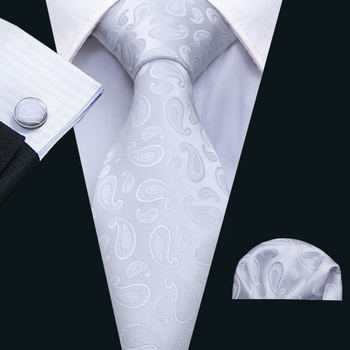 Mens Ties White Paisley Silk Ties 100% Silk Jacquard Woven Handkerchief Cufflinks Neck Tie Set