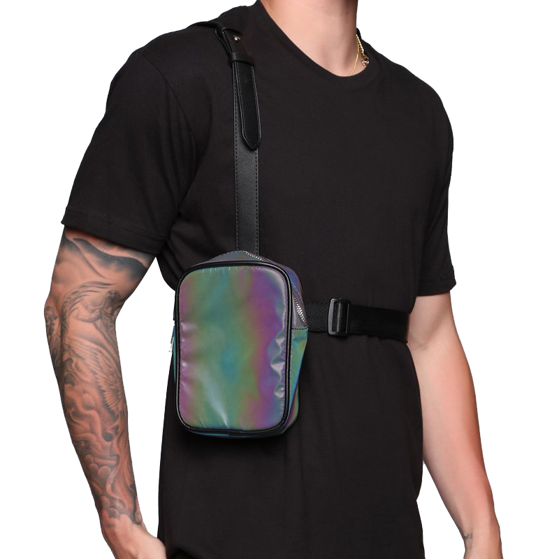 Can offer sample customize design low MOQ Reflective chest bag
