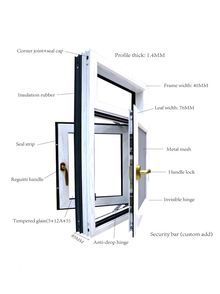 En gros avec ventilateur d'extraction barres de sécurité persienne en aluminium persiennes malaisie fenêtre