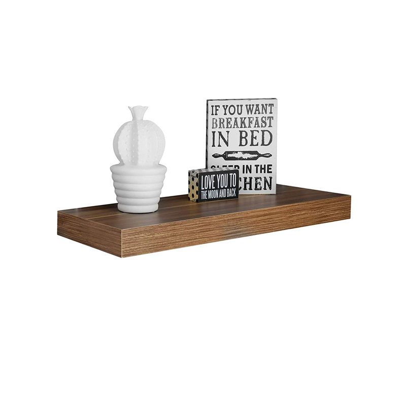 2 Tier Wood Wall Mounted Storage Shelves Bathroom Shelf with Towel Rods