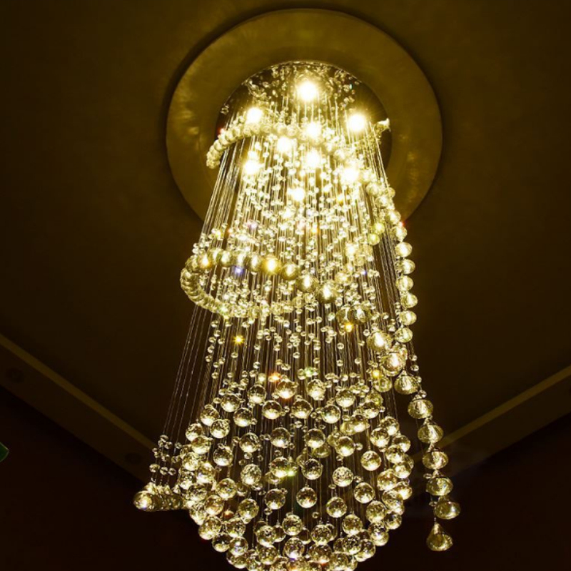 Modern LED Crystal Ceiling Rain Drop Luxury Pendant <strong>Lamp</strong> Stair Chandelier Cross <strong>Spiral</strong> size: diameter 80cm * height 280cm double