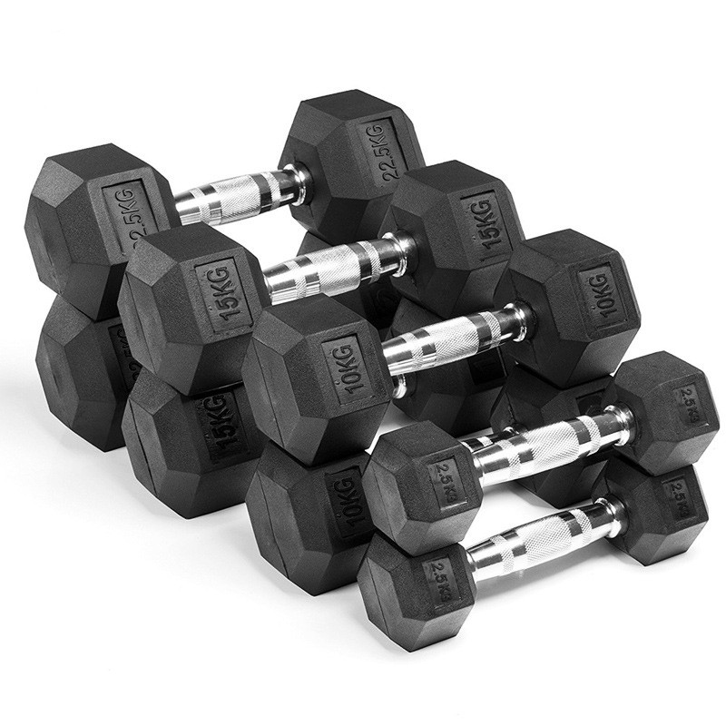 Venda direta da fábrica Hexagon dumbbell revestido de borracha, Push-up stand dumbbell da borracha do hex de levantamento de peso