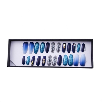 Elegant dark blue False Nail Press On Nails Artificial Nail Tips with Glue Sticker