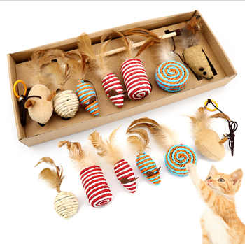 Hot sells 7 Pcs a Set Cat Toys Collection Feather Toys for Kitten in Gift Box, Natural Interactive Teaser Wand with Sisal Ball