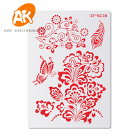 AK Customize Plastic Fondant Cake Decorating Stencils for Painting Pastry Baking Tools Cookie Stencil Template ST-5027~5035