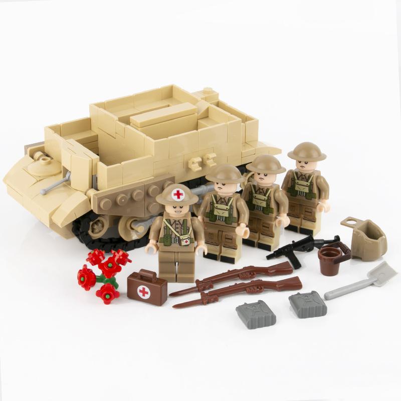 MOC WW2 военный Брен автомобиль строительные блоки солдат британская армия Танк модель фигурки части оружия кирпичи legoing игрушки для детей(Китай)
