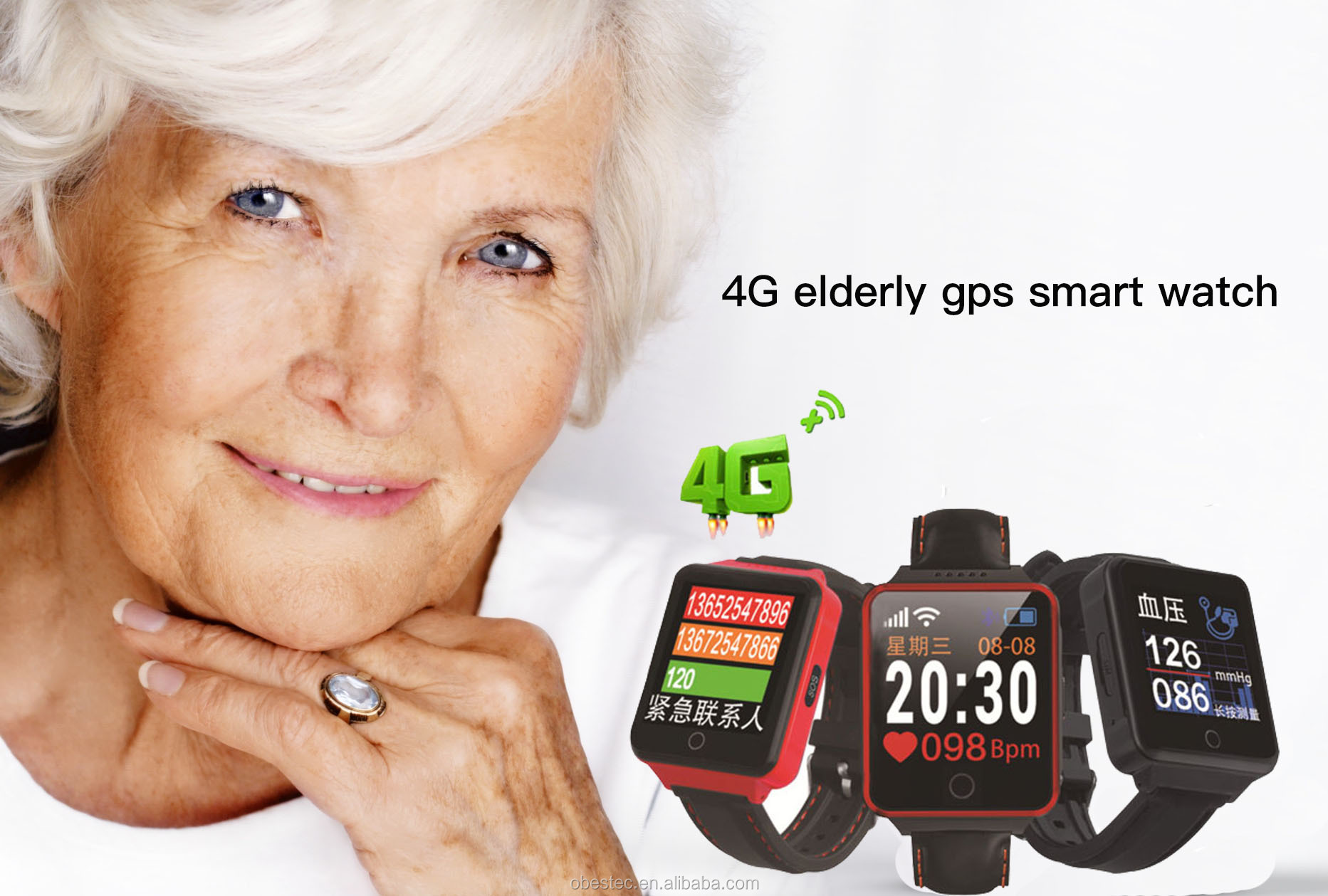 4G Smart Tracking Locator Elderly GPS Tracker Watch for Old Man Watch Phone