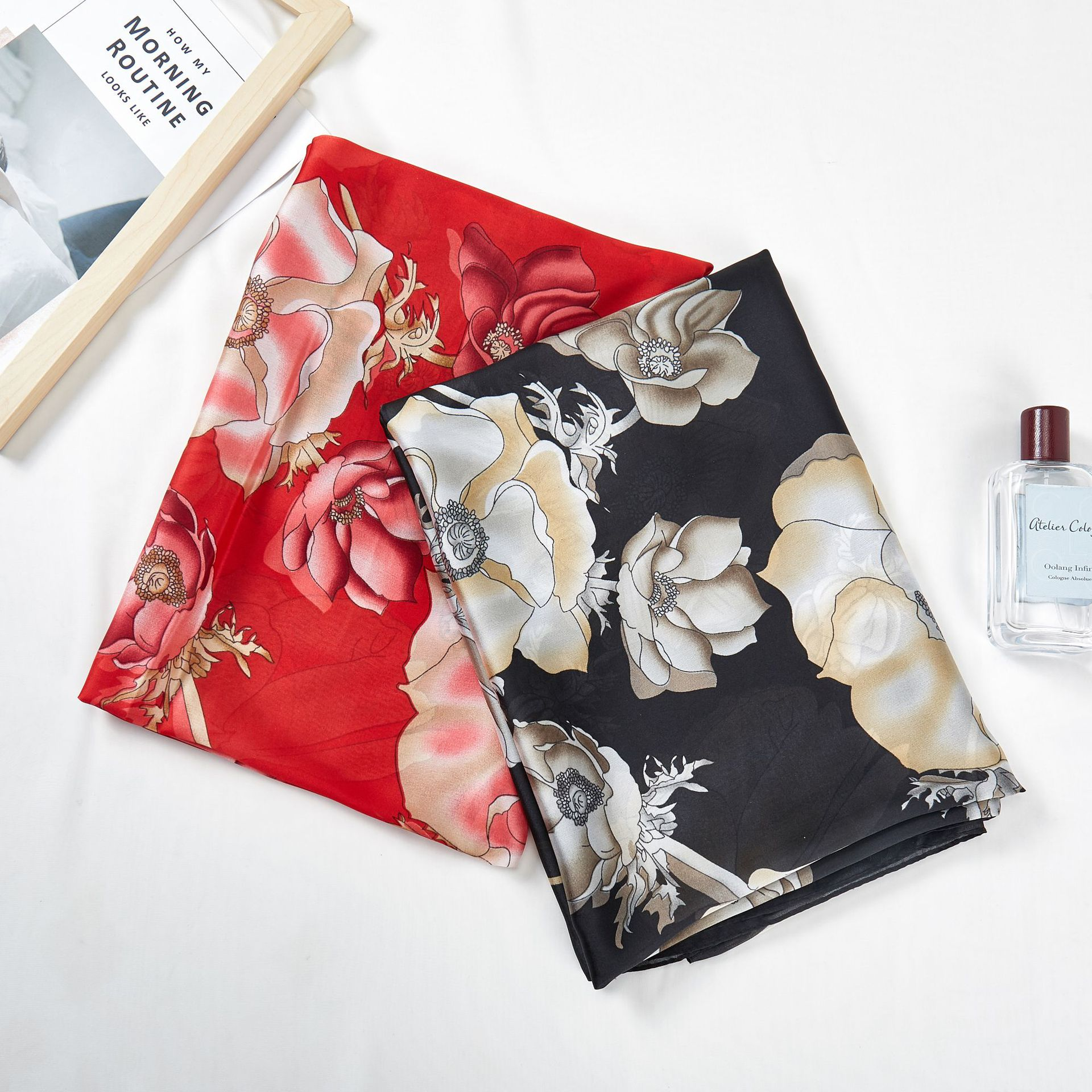 New Famous Silk Scarf, Female Flower,Long Recreational Sunscreen Beach Scarf and Shawl