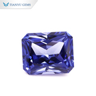 Tianyu Gem Newly arrived stcoks Certified 10*14mm perfect emerald cut blue Lab sapphire for jewelry making