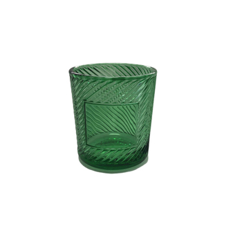 OEM old fashioned beautiful empty crystal tea light votive embossed green glass candle holder