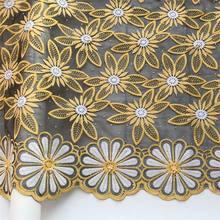 Новейшая нигерийская кружевная ткань желтая африканская Свадебная кружевная ткань свадебное платье шелковая молочная французская кружев...(China)
