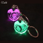 Wholesale Custom 3D Laser Engraving Glass Keyring Transparent Led Crystal Keychain For Christmas Gifts