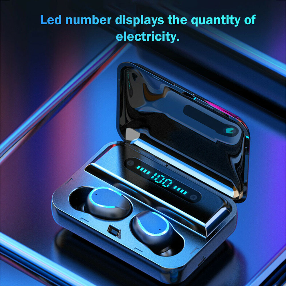 Wireless Earphones F9 TWS 5.0 headphone earbuds Stereo auriculares headset with 2000mAh Power Bank LED Display Charging Case