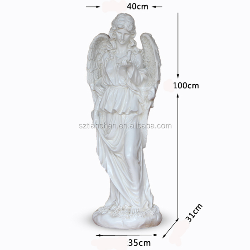 Artificial Natural White Resin FRP Craft Decoration Angel Sculpture Custom Resin Figure Statue