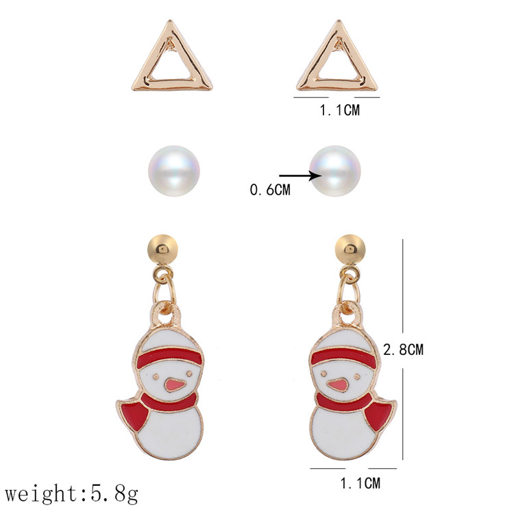 2020 Gold Plating Pearl Triangle Stud Earrings Set High Quality Santa Claus Jingle Bell Christmas Earrings Set For women