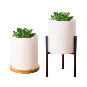 Factory custom retro ceramic small cactus planter pot mat white succulent stand flower plant pots with bamboo tray