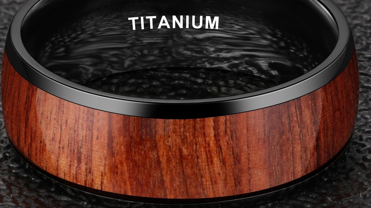 1 unidades MOQ 8mm negro plateado anillo de titanio con incrustaciones de madera